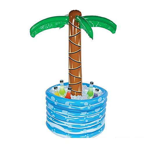 "Kidsco Inflatable Palm Tree Water Cooler - 48"" Large Buffet Party Accessory for Outdoor Activities, Summer Beach Luau, Hawaiian Birthday, Pool Decor, Tropical Drinks - Soda, Beer, Wine"