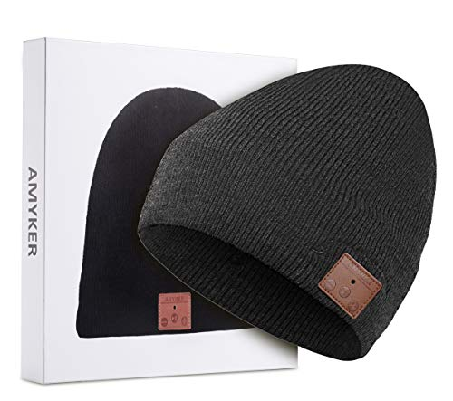 Amyker Wireless Beanie Knit Winter Hats Cap with Detachable Built-in Mic and HD Stereo Speakers for Outdoors Family & Gift-Unisex (001-Charcoal)