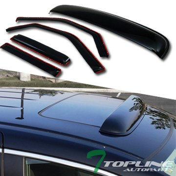 Topline Autopart In-Channel Sun Window Visors+Sunroof Moon Roof Guard 1997+ Expedition/Navigator