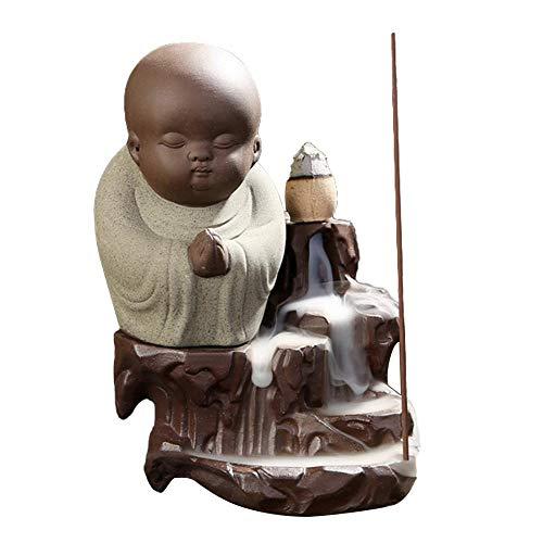 (Ceramic Backflow Incense Holder , Backflow incense Burner Buddha Monk Tower Porcelain incense Sticks Ash Catcher Aromatherapy with 10 incense cones free)