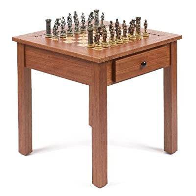 Medieval Hand Painted Chessmen & Lincoln Center Game Table