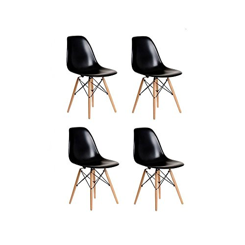 Set de 4 Sillas Réplica Eames Negra