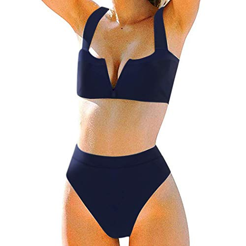 MOSHENGQI Women High Wasited Bikini Shoulder Strap 2 Piece High Cut String Swimsuits (Medium, Navy Blue59)