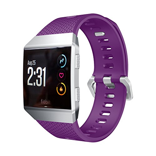 Runtenic Fitbit Ionic Watch Strap Silicone Wrist Sport Replacement Band and Adjustable Bracelet for Fitbit Ionic Fitness Smartwatch (Purple)