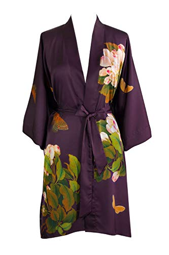 (Old Shanghai Women's Kimono Robe Short - Watercolor Floral, Peony & Butterfly- Plum )