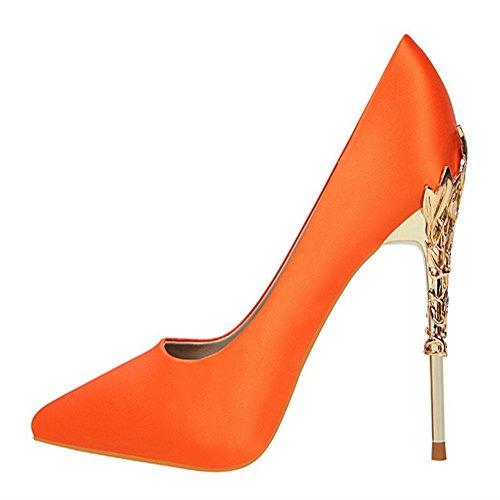Manyis Donne Sexy Scarpe Da Festa Stiletto Scarpe Col Tacco Alto In Raso Scarpe Col Tacco In Metallo Colore Arancio Taglia: Us4