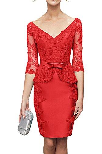 Partykleider Kurzarm Brautmutterkleider Damen Satin Spitze Abendkleider Charmant Rot Knielang mit Gruen WY768n18x0