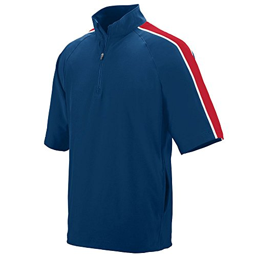 (Augusta Sportswear Men's Quantum Short Sleeve Windshirt 3XL Navy/Red/White)