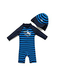 XmasPJS Baby Toddler Boys Two Pieces Swimsuit Set Boys Crab Bathing Suit Rash Guards with Hat UPF 50+