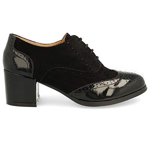 Redondos Y Altura Oxford Con Tacón Cordones Tipo Cuadrado Tacón Cm 6 Del Calado Negro Zapato De Patrón xwYUqX1YP