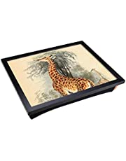 Lap Tray with Padded Cushion and Vintage The Animal Kingdom Giraffe Design Print | Laptop Computer Work Station or Meal Table with Artistic Flair | Comfortable and Space Saving Desk Surface