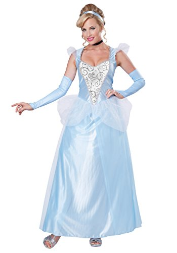 California Costumes Women's Classic Cinderella Fairytale Princess Long Dress Gown, Blue/White, (Cinderella Costumes Womens)
