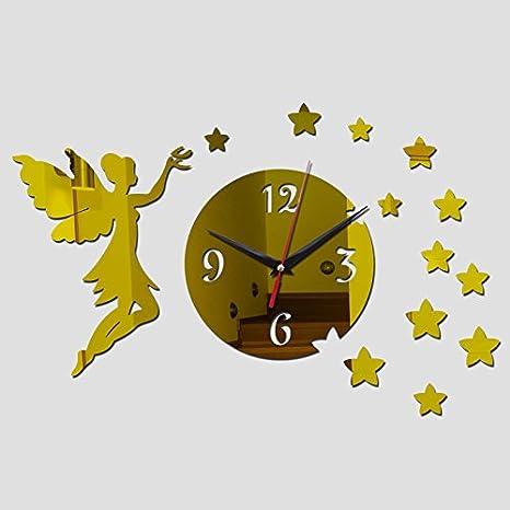 Amazon.com: RedSonics(TM) top fashion Acrylic Quartz wall clocks reloj de pared new novelty big angel mirror art clock safe home decoration style: Home & ...