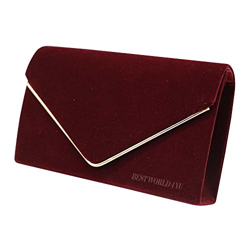 Wedding Party Prom Wocharm Frame Clutch Burgundy Suede Clutch Envelope Bag HandBags Bridal Girly Ladies Faux Evening Bag Metallic OwqrPO7