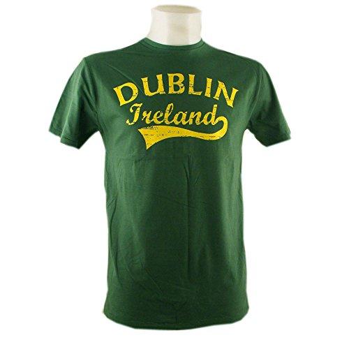 """Crewneck-T-Shirt mit gelbem Aufdruck """"Dublin Fame Style"""", grün"""