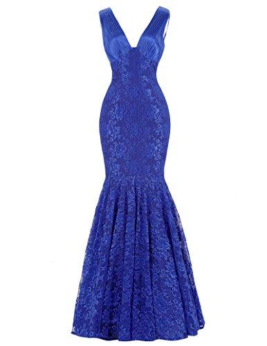 V-Neck Mermaid Lace Blue Prom Homecoming Dresses Sleeveless Size 6