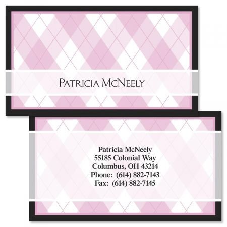 Pink and Black Argyle Double-Sided Business Cards - Set of 250 2'' x 3-1/2'' custom business card design; 80# Cover Stock, Opaque, Matte