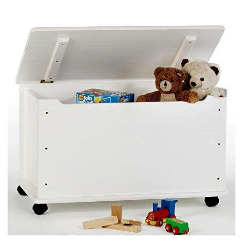 Spielzeugtruhe Spielzeugkiste Truhe ELISA Kiefer massiv in weiß lackiert, integrierter Klemmschutz, 4 Sicherheitsdoppelrollen