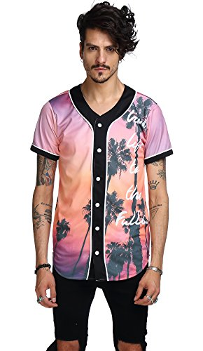 About Baseball T-shirt - Pizoff Short Sleeve Baseball Collar Arc Bottom 3D Sunset Print Buckle Jersey Tops Basketball Team Tee Dance T Shirt Baseball Coat Y1724-10-M