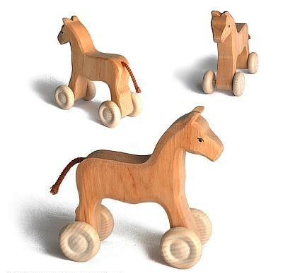 Grimm's Pretend Play Natural Wooden Horse on Wheels, Big