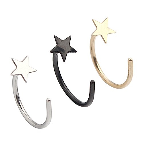 Ruifan 20G 8mm Stainless Steel Star Nose Hoop Stud Ring Piercing Jewelry 3PCS