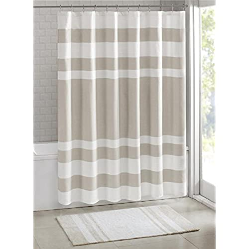 Madison Park MP70 1483 Spa Waffle Shower Curtain 72x72 Taupe72x72
