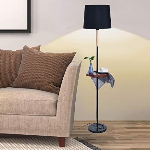m·kvfa Living Room Study Bedroom Floor Lamp Vertical Storage Tray Floor Lamp Table Lamp Family Floor Lamp for Bedroom Bedside Corner (Black) ()