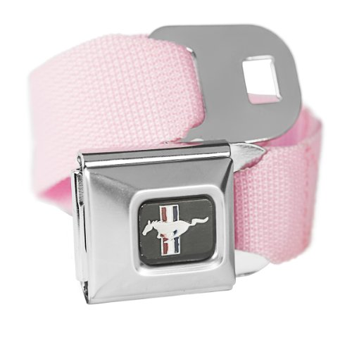 Belt Mustang Seat Ford Belt (Pink Ford Mustang Seatbelt Buckle Fashion Belt - Officially Licensed)