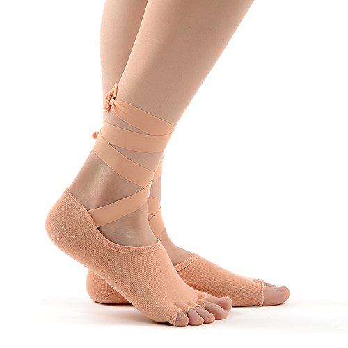 coofone femmes chaussettes de yoga antidérapant Grip Skid toeless Chaussettes avec rubans en soie Cinq Orteils Gym Danse Barre d'Exercice Pilates moitié orteils Basses Chaussettes en coton 2couleurs