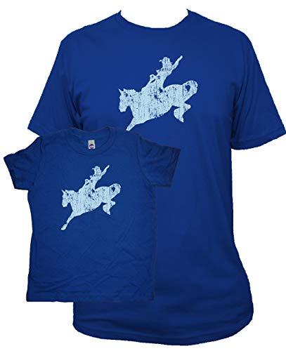Sunshine Mountain Tees Matching Father Son Cowboy Shirts L&6 Blue