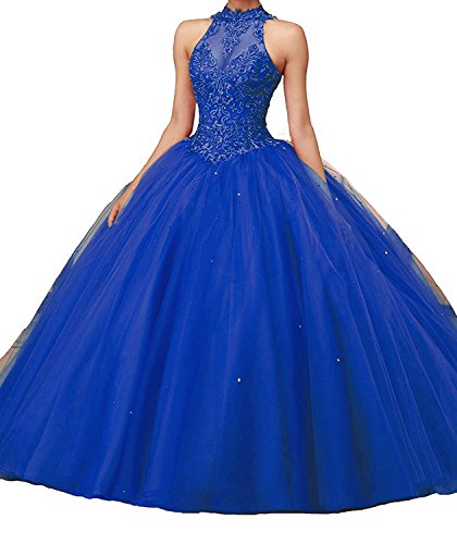 ZhixingKJ Women's Halter Lace Appliques Puffy Ball Gown Sweet 16 Quinceanera Dresses Lace up Back Prom Gowns Size 10 Royal (Halter Quinceanera Gown)