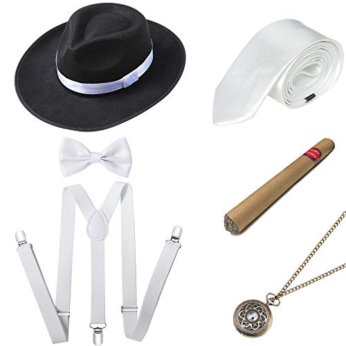 BABEYOND 1920s Mens Gatsby Gangster Costume Accessories Set Panama Hat Suspender (Style2-Black White) -