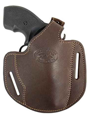 Barsony Brown Gun Concealment Leather Pancake Holster for .22 .38 .357 Revolver