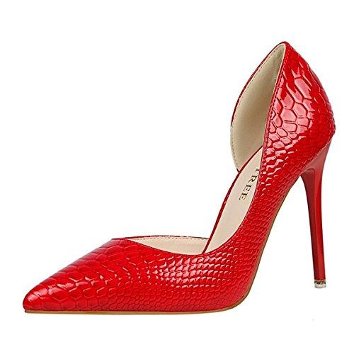 DIMAOL Chaussures Pour Femmes en Cuir de Brevet Printemps Automne Gladiator Pompe de Base Talon Aiguille Talons Bout Pointu Pour Partie & Amande Robe de Soirée Rouge Noir,Rouge,US5.5/EU36/UK3.5/