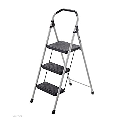 Gorilla Ladders 3-Step Lightweight Steel Step Stool Ladder with 225 lb. Load Capacity Type II Duty Rating with Locking Step Latch, Soft Grip and Non-Slip Tread LIFETIME LIMITED WARRANTY!!!