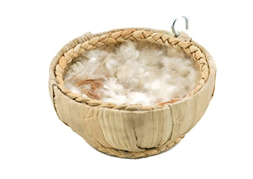 Mitsport,Hanging Birdhouses Natural Banana Tree Coconut Fiber and White Silk Cotton Tree Bird Nest House Hut for Pet Parrot Budgies Parakeet,Free Refills one Bird Nester. by Mitsport
