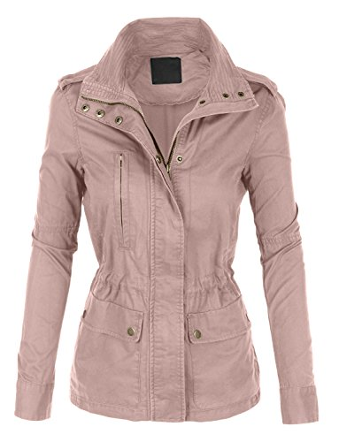 LE3NO Womens Stand Collar Safari Anorak Jacket With Pockets (Women's Military Style Jacket)