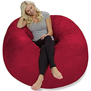 Chill Sack Bean Bag Chair: Giant 5′ Memory Foam Furniture Bean Bag – Big Sofa with Soft Micro Fiber Cover – Cinnabar