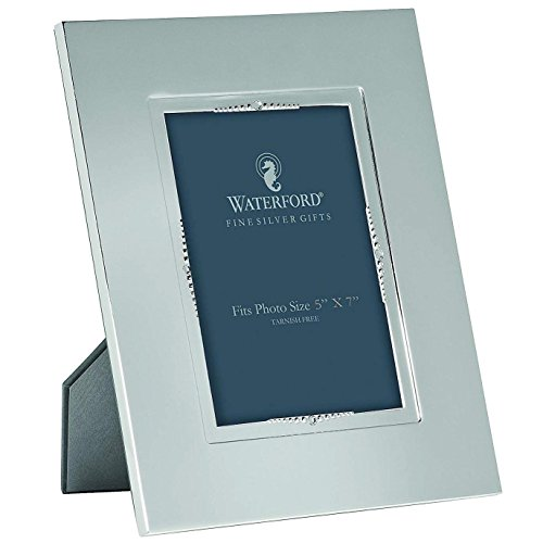 Reg Patterned - LISMORE BEAD patterned 5x7 silver frame by Waterford - 5x7