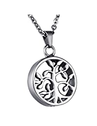 COCO Park Tree of Life Cremation Jewelry Stainless Steel Urn Pendant Necklace Memorial Ashes Keepsake