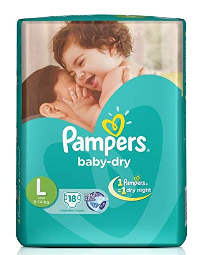 Pampers Baby Dry Diapers Taped Large Size 18 Pieces