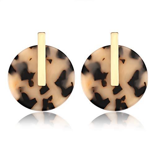 YOUMI Acrylic Earrings for Women Statement Resin Acetate Earrings Tortoiseshell Disk Stud Earrings Bohemia Geometry Round Hoop Earrings (Leopard)