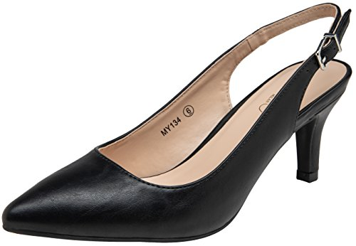 VOSTEY Women Low Heel Dress Shoes Kitten Heel Slingback Pumps(9.5,Black Pu)