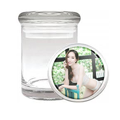 Medical Glass Stash Jar Thai Thailand Pin Up Girls Model S9 Air Tight Lid 3'' x 2'' Small Storage Herbs & Spices by JS & Caren