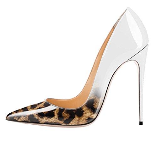 Ycg Hielt Pompen Rood Bloed Printing Slip Op Schoenen Blauwe Leopard