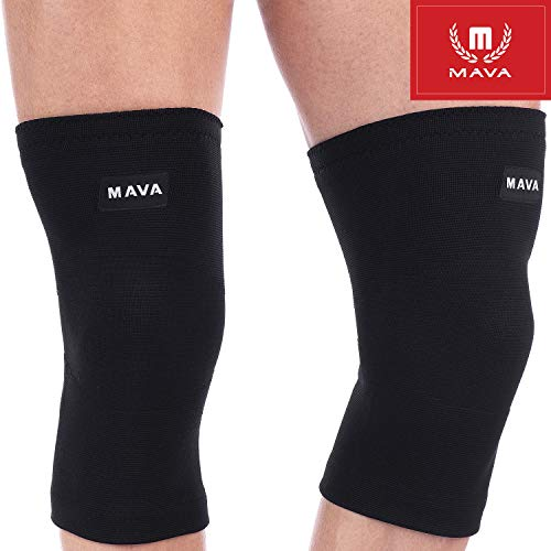 Mava Sports Knee Support Compression Sleeve (All Black, XXX-Large)