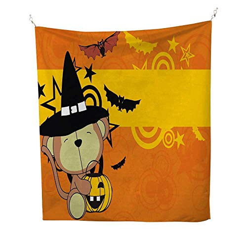 25 Home Decor Wall Tapestries Baby Monkey Witch Costume Cartoon Halloween Background BTS Tapestries 54W x 84L INCH
