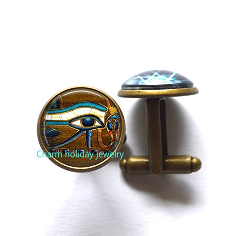 Egyptian CuffLinks Eye of Horus Jewelry CuffLinks Egyptian Symbol CuffLinks Egyptian Jewelry,glass dome cufflinks,men cufflinks
