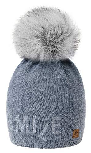 Snowboard Con Bobble Gris Knit Fleece Smile 4sold Pom Bonnet Wool Big Womens Modelo Forro Winter Cap 2 Ski B4BPwYFq