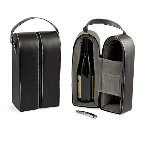 Bey-Berk Leather Wine Bottle Carrier Caddy Travel Tote Bag & Tool Set,Black -  BEY BERK, BS936
